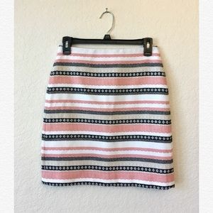 Loft Striped Skirt in Pink, White, and Black